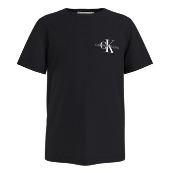 tekstylia Chłopiec T-shirty z krótkim rękawem Calvin Klein Jeans CHEST MONOGRAM TOP Czarny