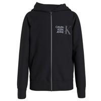 tekstylia Chłopiec Bluzy Calvin Klein Jeans HYBRID LOGO ZIP THROUGH Czarny