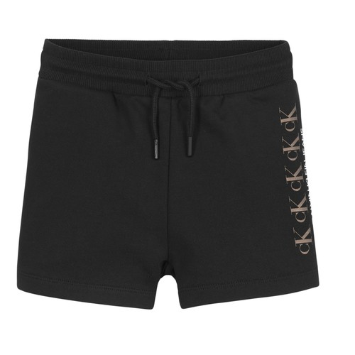 tekstylia Dziewczynka Szorty i Bermudy Calvin Klein Jeans CK REPEAT FOIL KNIT SHORTS Czarny