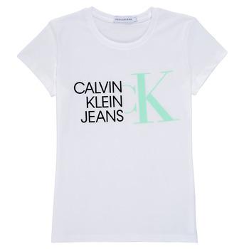 tekstylia Dziewczynka T-shirty z krótkim rękawem Calvin Klein Jeans HYBRID LOGO SLIM T-SHIRT Biały