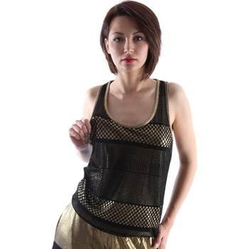 tekstylia Damskie Topy na ramiączkach / T-shirty bez rękawów Ttp.it HT2013D Czarny