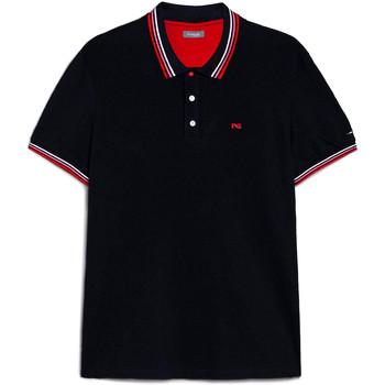 tekstylia Męskie Koszulki polo z krótkim rękawem NeroGiardini E072390U Niebieski