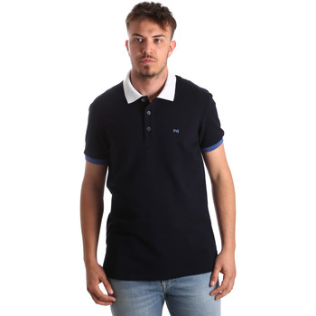 tekstylia Męskie Koszulki polo z krótkim rękawem NeroGiardini P972240U Niebieski