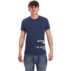 tekstylia Męskie T-shirty z krótkim rękawem Gaudi 011BU64071 Niebieski