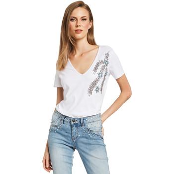 tekstylia Damskie T-shirty z krótkim rękawem Gaudi 011BD64017 Biały