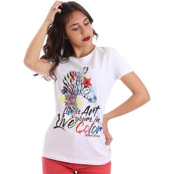 tekstylia Damskie T-shirty z krótkim rękawem Gaudi 011BD64003 Biały