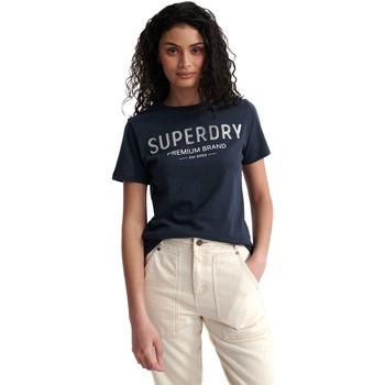 tekstylia Damskie T-shirty z krótkim rękawem Superdry W1010006A Niebieski