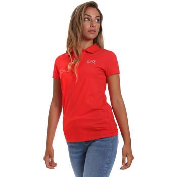 tekstylia Damskie Koszulki polo z krótkim rękawem Ea7 Emporio Armani 3HTF57 TJ29Z Czerwony