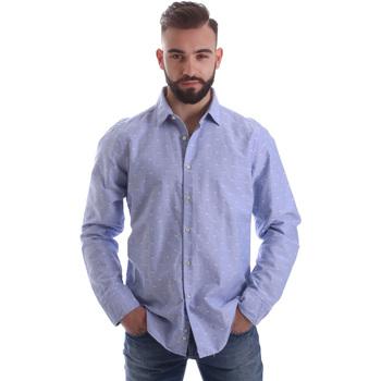 tekstylia Męskie Koszule z długim rękawem Gmf 962118/03 Niebieski