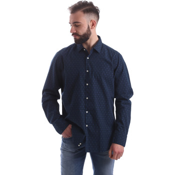 tekstylia Męskie Koszule z długim rękawem Gmf 962157/06 Niebieski