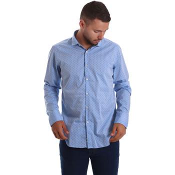 tekstylia Męskie Koszule z długim rękawem Gmf 971208/03 Niebieski