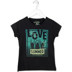 tekstylia Dziewczynka T-shirty z krótkim rękawem Losan 714 1204AB Czarny