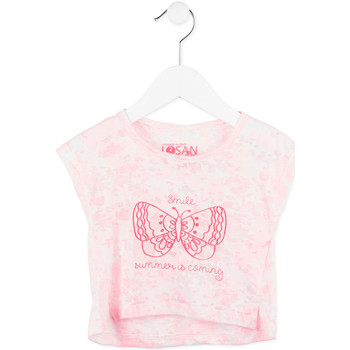 tekstylia Dziewczynka T-shirty z krótkim rękawem Losan 716 1011AD Różowy