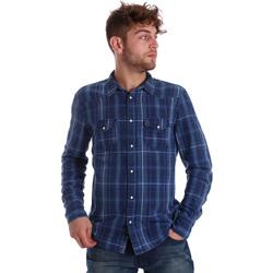 tekstylia Męskie Koszule z długim rękawem Gaudi 721BU46005 Niebieski