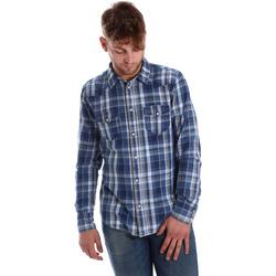 tekstylia Męskie Koszule z długim rękawem Gaudi 721BU46008 Niebieski