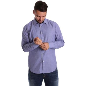 tekstylia Męskie Koszule z długim rękawem Gmf 972160/04 Niebieski