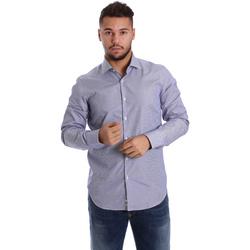 tekstylia Męskie Koszule z długim rękawem Gmf 972906/04 Niebieski