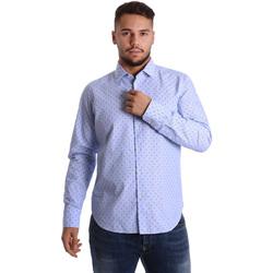 tekstylia Męskie Koszule z długim rękawem Gmf 972158/01 Niebieski