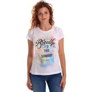 tekstylia Damskie T-shirty z krótkim rękawem Key Up 5D59S 0001 Biały