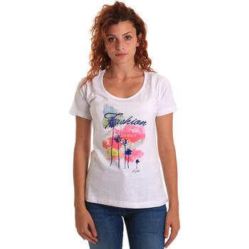 tekstylia Damskie T-shirty z krótkim rękawem Key Up 5D58S 0001 Biały