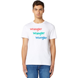 tekstylia Męskie T-shirty z krótkim rękawem Wrangler W7D7D3989 Biały
