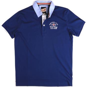 tekstylia Męskie Koszulki polo z krótkim rękawem Key Up 2G85R 0001 Niebieski