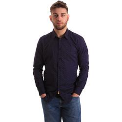 tekstylia Męskie Koszule z długim rękawem Gaudi 821BU45012 Niebieski