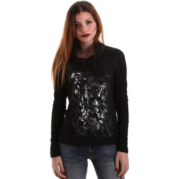 tekstylia Damskie T-shirty z długim rękawem Key Up 5VG84 0001 Czarny