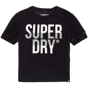 tekstylia Damskie T-shirty z krótkim rękawem Superdry G60003TQ Czarny