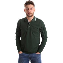 tekstylia Męskie Koszulki polo z długim rękawem Key Up 2L711 0001 Zielony