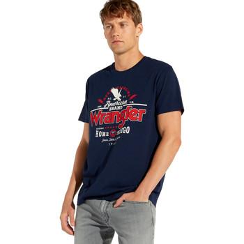 tekstylia Męskie T-shirty z krótkim rękawem Wrangler W7C08F Niebieski