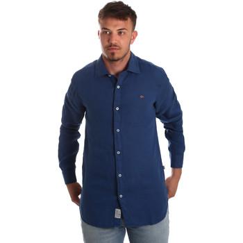 tekstylia Męskie Koszule z długim rękawem Napapijri N0YIL7 Niebieski
