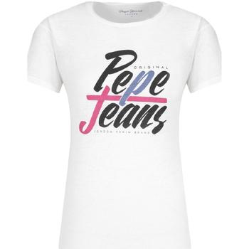 tekstylia Damskie T-shirty z krótkim rękawem Pepe jeans PL503967 Biały