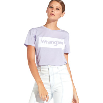 tekstylia Damskie T-shirty z krótkim rękawem Wrangler W7016D Fioletowy