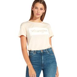 tekstylia Damskie T-shirty z krótkim rękawem Wrangler W7016D Pomarańczowy