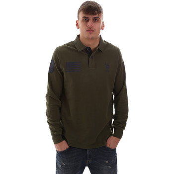 tekstylia Męskie Koszulki polo z długim rękawem U.S Polo Assn. 52416 47773 Zielony