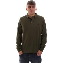 tekstylia Męskie Koszulki polo z długim rękawem U.S Polo Assn. 52415 47773 Zielony