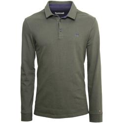 tekstylia Męskie Koszulki polo z długim rękawem NeroGiardini A972290U Zielony