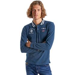 tekstylia Męskie Koszulki polo z długim rękawem La Martina OMP325 JS005 Niebieski