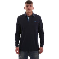 tekstylia Męskie Koszulki polo z długim rękawem La Martina OMP007 JS169 Niebieski