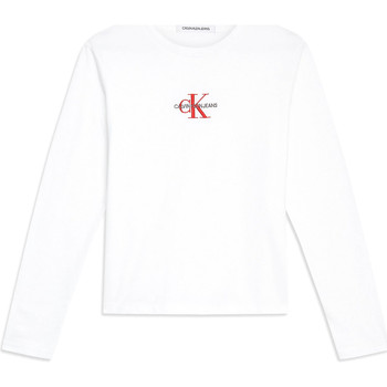 tekstylia Damskie T-shirty z długim rękawem Calvin Klein Jeans J20J211804 Biały