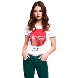 tekstylia Damskie T-shirty z krótkim rękawem Gaudi 921BD64047 Biały