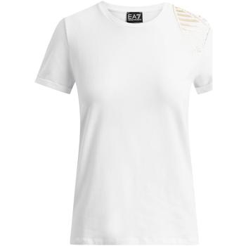 tekstylia Damskie T-shirty z krótkim rękawem Ea7 Emporio Armani 6GTT07 TJ12Z Biały