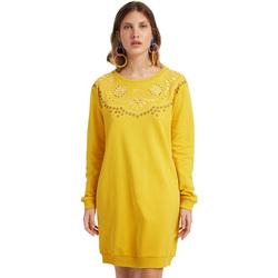 tekstylia Damskie Sukienki krótkie Desigual 19WWVK86 Żółty