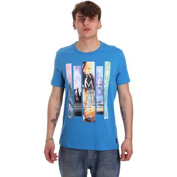 tekstylia Męskie T-shirty z krótkim rękawem Gaudi 011BU64028 Niebieski