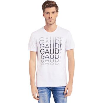tekstylia Męskie T-shirty z krótkim rękawem Gaudi 011BU64068 Biały