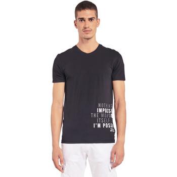 tekstylia Męskie T-shirty z krótkim rękawem Gaudi 011BU64071 Czarny