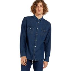 tekstylia Męskie Koszule z długim rękawem Wrangler W5MSLW301 Niebieski