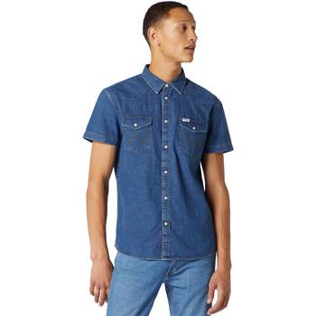 tekstylia Męskie Koszule z krótkim rękawem Wrangler W5J05D50B Niebieski