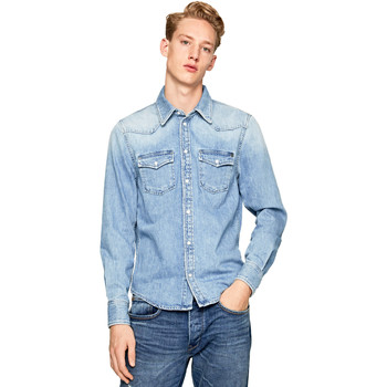 tekstylia Męskie Koszule z długim rękawem Pepe jeans PM301044PB1 Niebieski